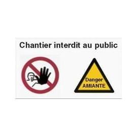 Panneau chantier interdit au public et Danger amiante - 118 x 78 cm