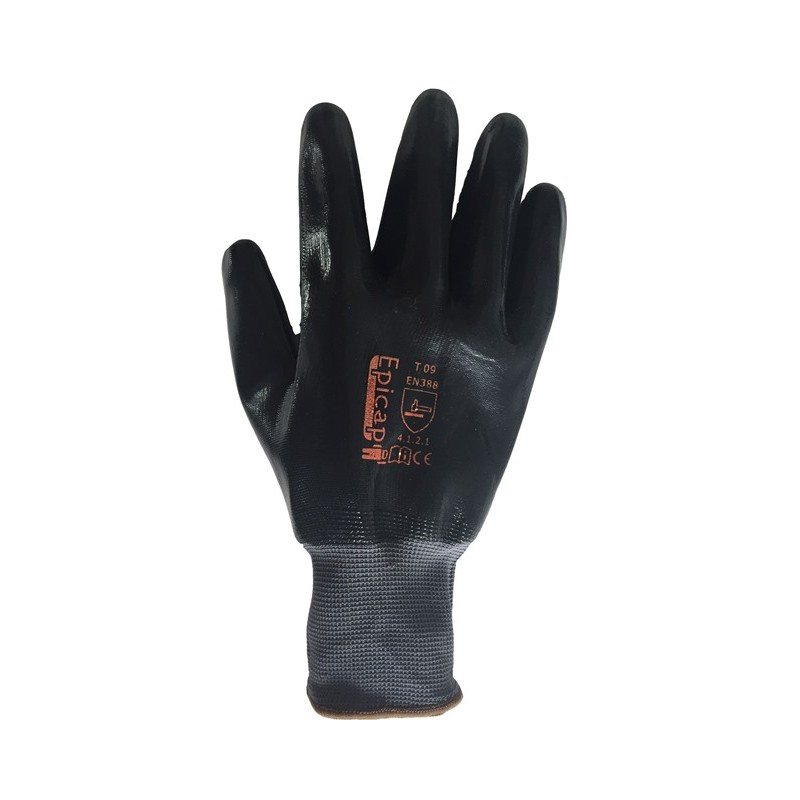 Gant de manutention amiante nylon enduit nitrile noir - Gant de manutention ...