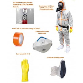 Kit individuel d'intervention Amiante combi type 5 et 6 thermocollée