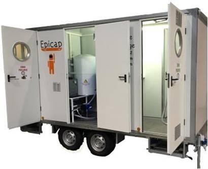 Unité de décontamination EPIROLL 5 compartiments 2 douches 2 essieux